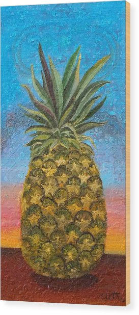 Pineapple Sunrise Or Pineapple Sunset Wood Print
