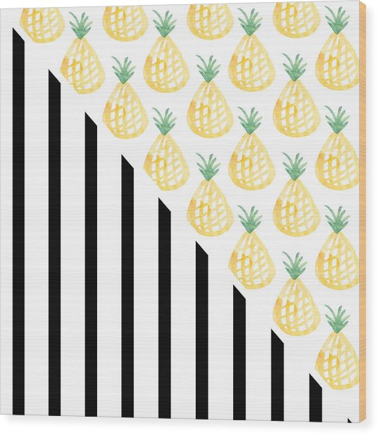 Pineapples And Stripes Wood Print