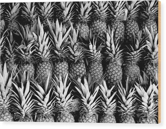 Pineapples In B/w Wood Print