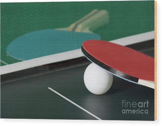 Ping Pong Paddles On Table With Net Wood Print