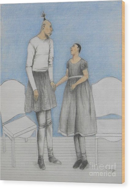 Pinhead Friends -- Portrait Of 2 Developmentally Disabled Men Wood Print