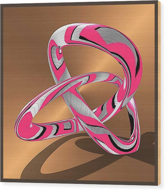 Pink Abstract On Gold Wood Print