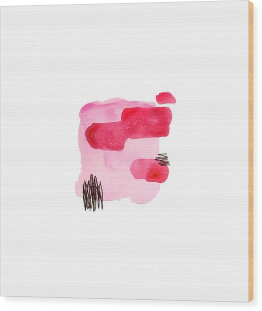 Pink And Black Abstract Wood Print
