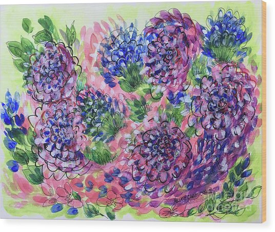 Pink And Blue Flower Flurry Wood Print