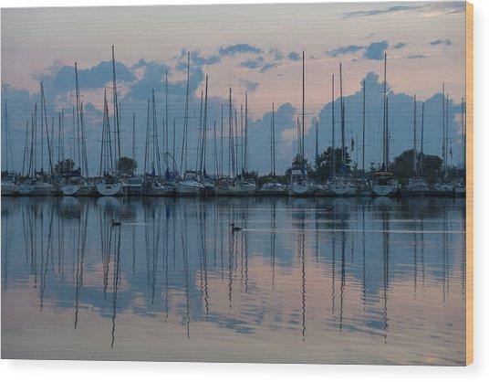 Pink And Blue Peace - Still Sailboat Reflections Wood Print