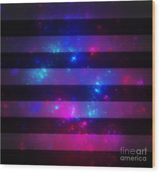 Pink And Blue Striped Galaxy Wood Print