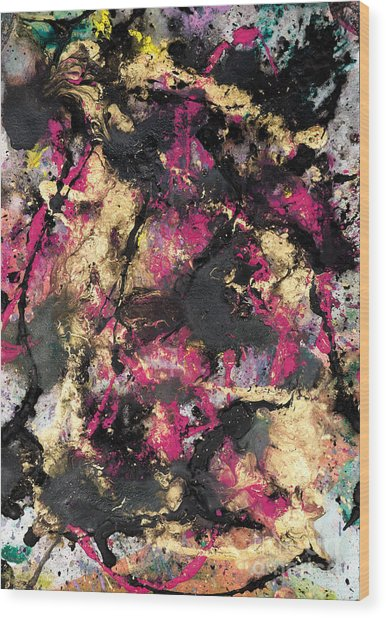 Pink And Gold Merge Wood Print
