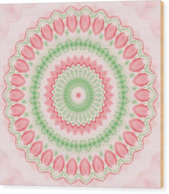Pink And Green Mandala Fractal 003 Wood Print