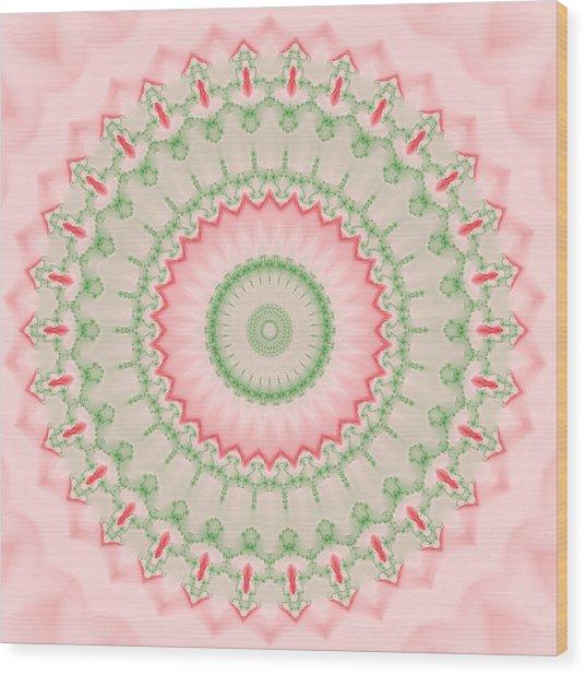 Pink And Green Mandala Fractal 004 Wood Print