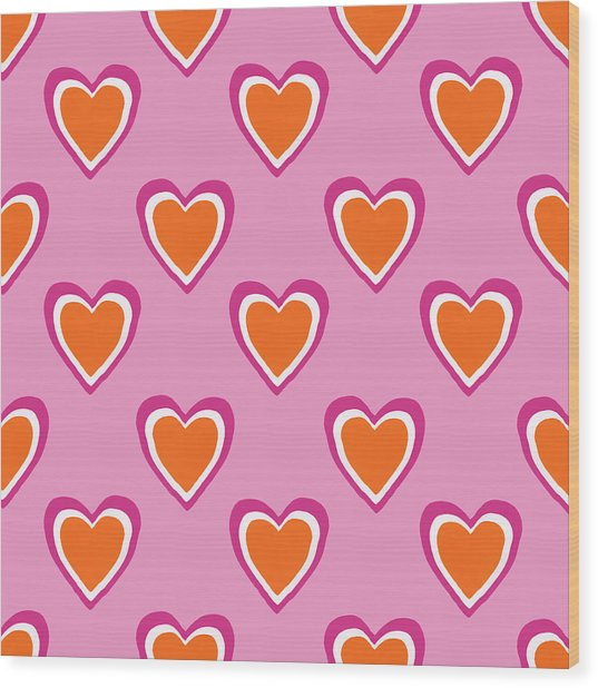Pink And Orange Hearts- Art By Linda Woods Wood Print