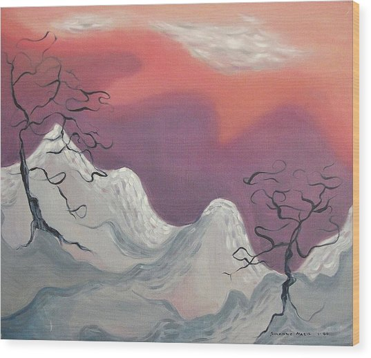 Pink And Purple Sky Wood Print by Suzanne  Marie Leclair