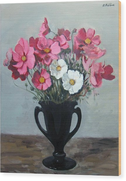 Pink And White Cosmos In Black Milk Glass Vase Wood Print