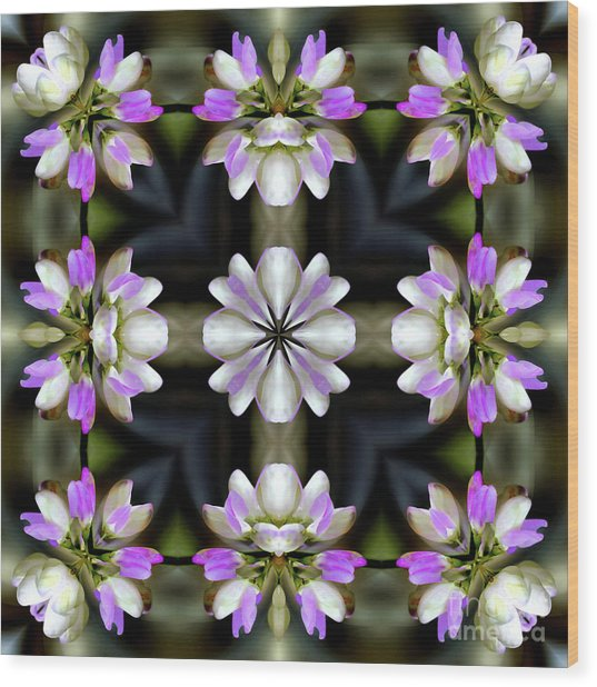 Pink And White Flowers Abstract Wood Print