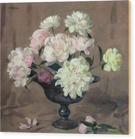Pink And White Peonies In Footed Silver Bowl Wood Print