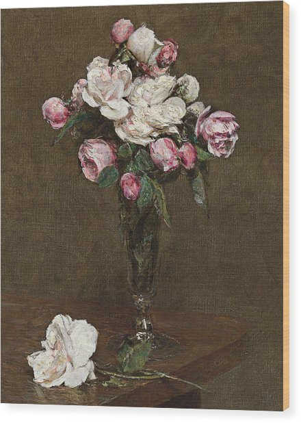 Pink And White Roses In A Champagne Flute Wood Print