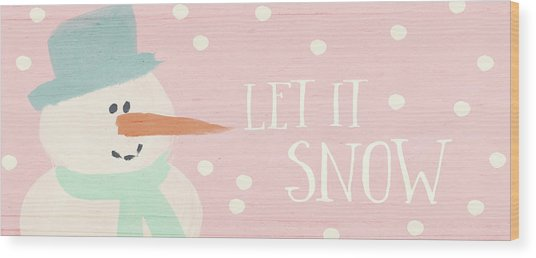 Pink And White Snowman- Art By Linda Woods Wood Print