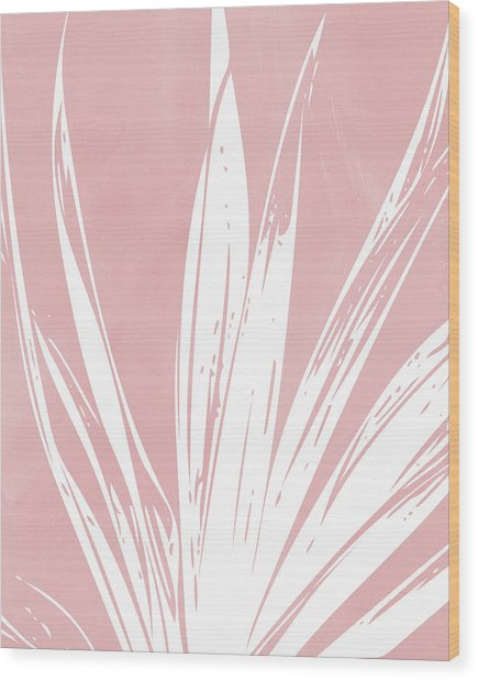 Pink And White Tropical Leaf- Art By Linda Woods Wood Print