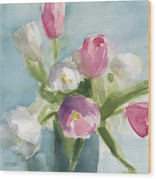 Pink And White Tulips Wood Print