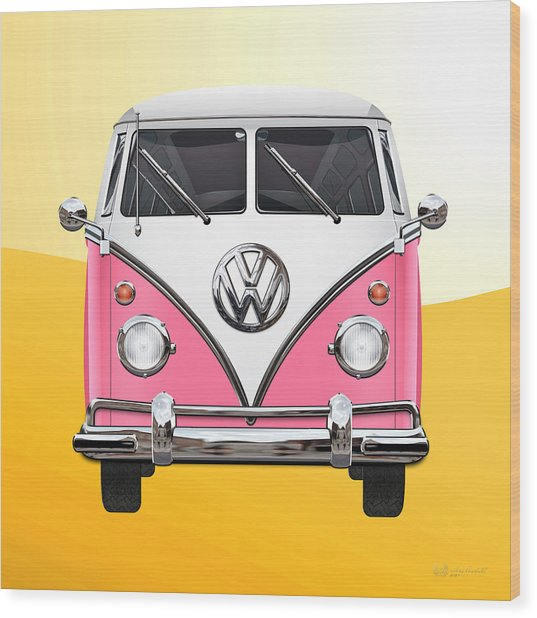 Pink And White Volkswagen T 1 Samba Bus On Yellow Wood Print