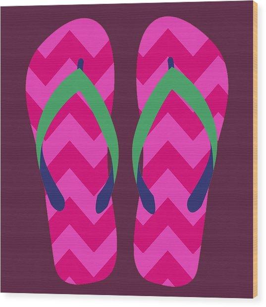 Wood Print featuring the digital art Pink Beach Sandals by Jennifer Hotai