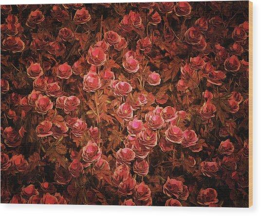 Wood Print featuring the painting Pink Bionica Roses by Jan Keteleer