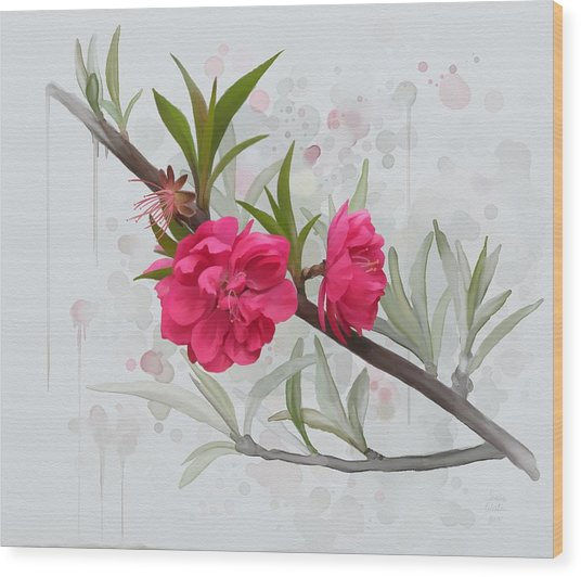 Wood Print featuring the painting Hot Pink Blossom by Ivana Westin