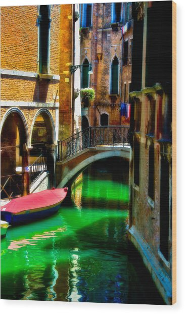 Pink Boat And Canal Wood Print