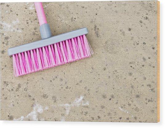 Pink Broom Wood Print