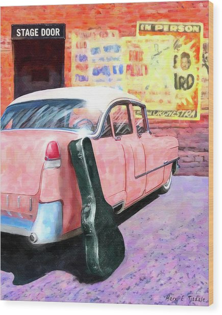 Wood Print featuring the digital art Pink Cadillac At The Stage Door by Mark Tisdale