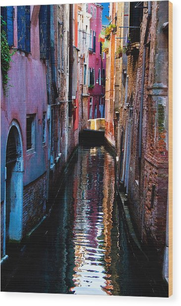 Pink Canal Wood Print