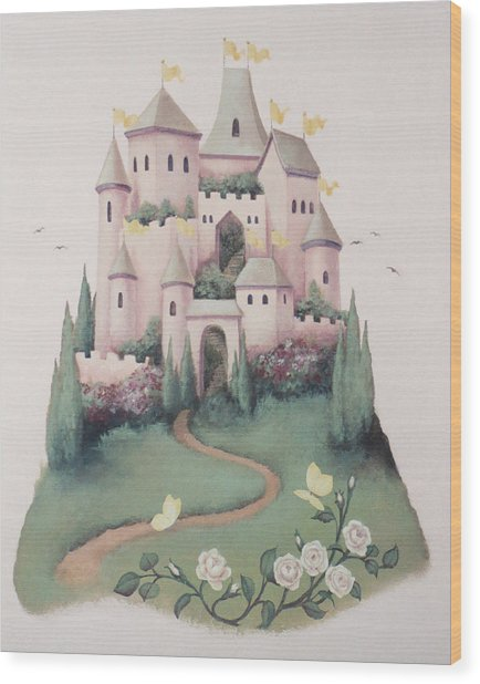 Pink Castle Wood Print