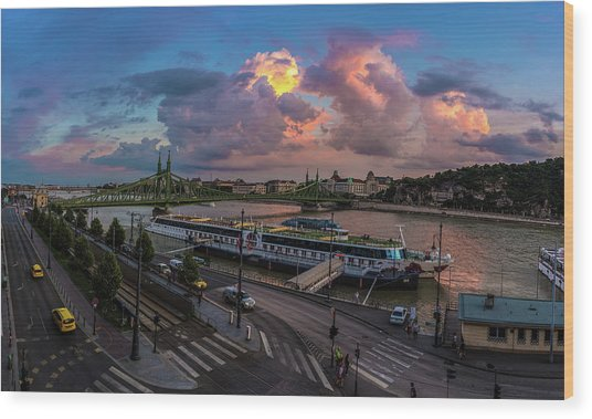 Pink Clouds Above The Danube, Budapest Wood Print