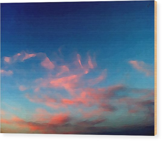 Wood Print featuring the digital art Pink Clouds Abstract by Shelli Fitzpatrick