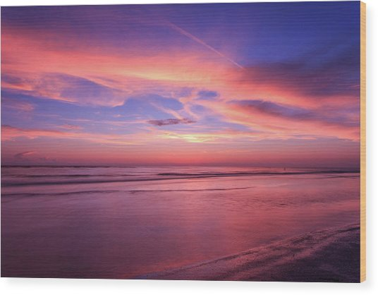 Wood Print featuring the photograph Pink Sky And Ocean by Doug Camara