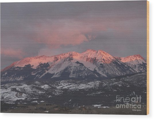 Pink Colorado Rocky Mountain Sunset Wood Print