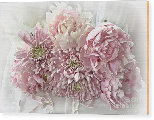 Pink Cottage Chic Romantic Carnations Peonies Bouquet - Romantic Pink Peonies Cottage Floral Decor Wood Print