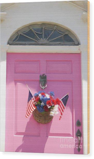 Pink Door Wood Print by Susan  Lipschutz