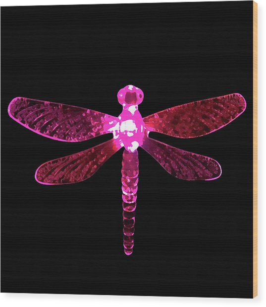 Pink Dragonfly Wood Print