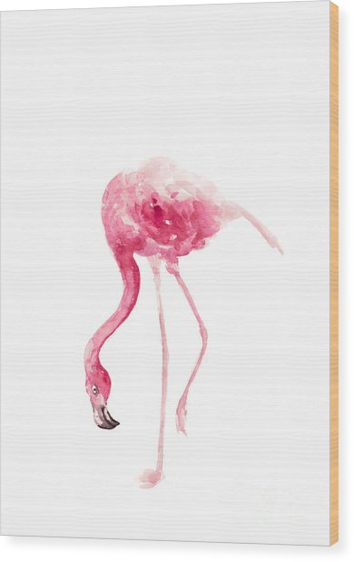 Pink Flamingo Watercolor Art Print Painting Wood Print