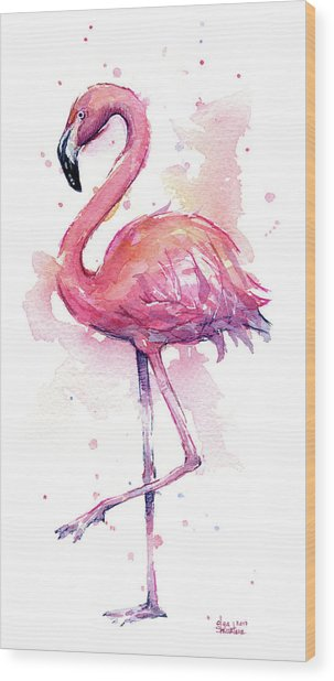 Pink Flamingo Watercolor Tropical Bird Wood Print