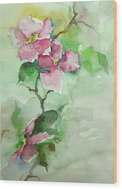 Pink Flowers On Branch Wood Print