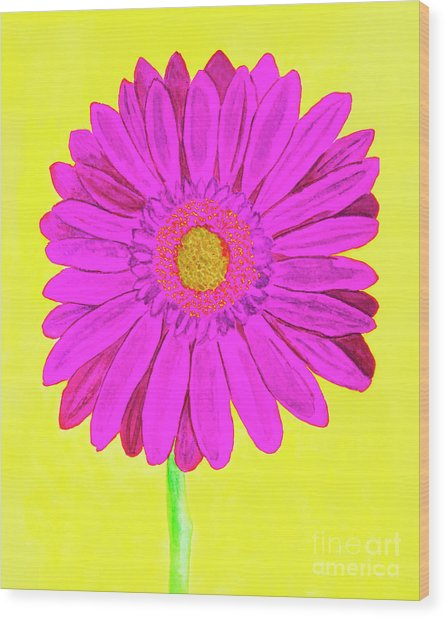 Pink Gerbera On Yellow, Watercolor Wood Print