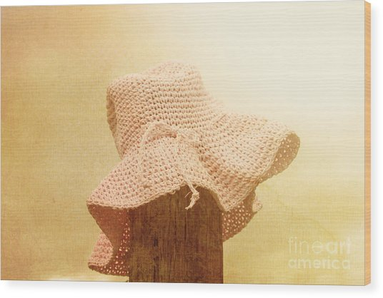 Pink Girls Hat On Farmyard Fence Post Wood Print