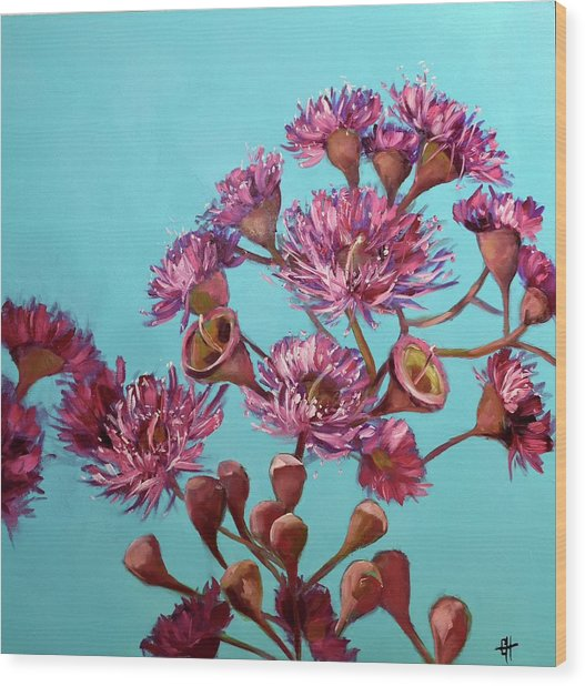 Pink Gum Blossoms Wood Print