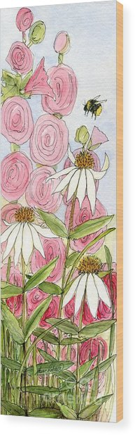 Pink Hollyhock And White Coneflowers Wood Print