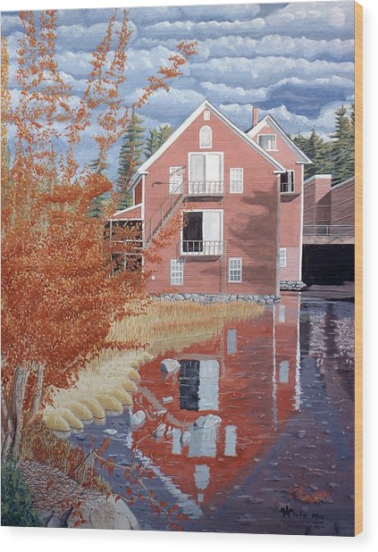 Pink House In Autumn Wood Print