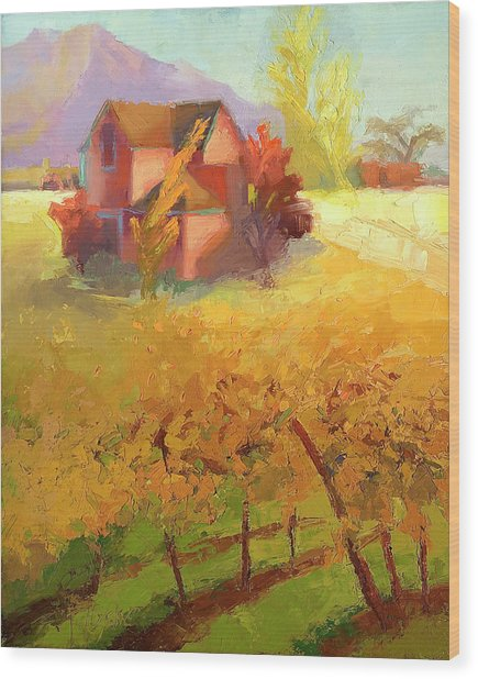 Pink House Yellow Wood Print by Cathy Locke