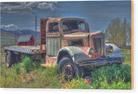 Classic Flatbed Truck In Pink Wood Print