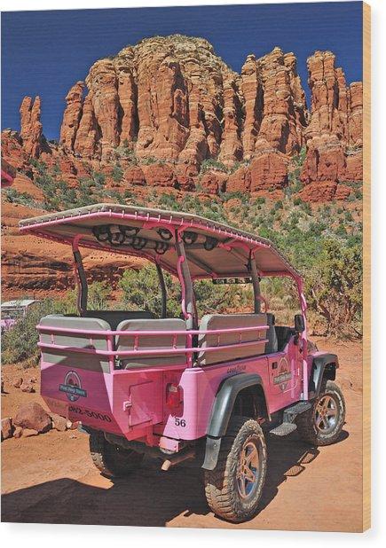 Pink Jeep At Sedona Wood Print