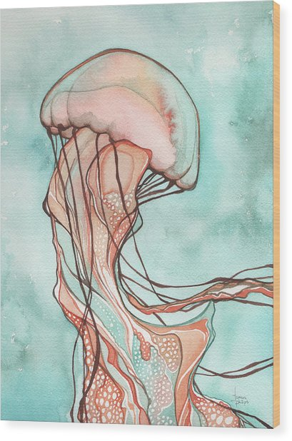 Pink Jellyfish Wood Print